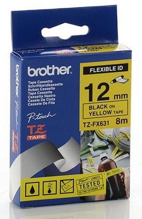 P-Touch schwarz/gelb 8m - laminiert 12mm Flexitape- für Kabel + Rohrmarkierungen