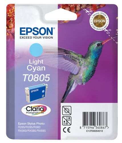 Epson Singlepack Light Cyan T0805 Claria Photographic Ink