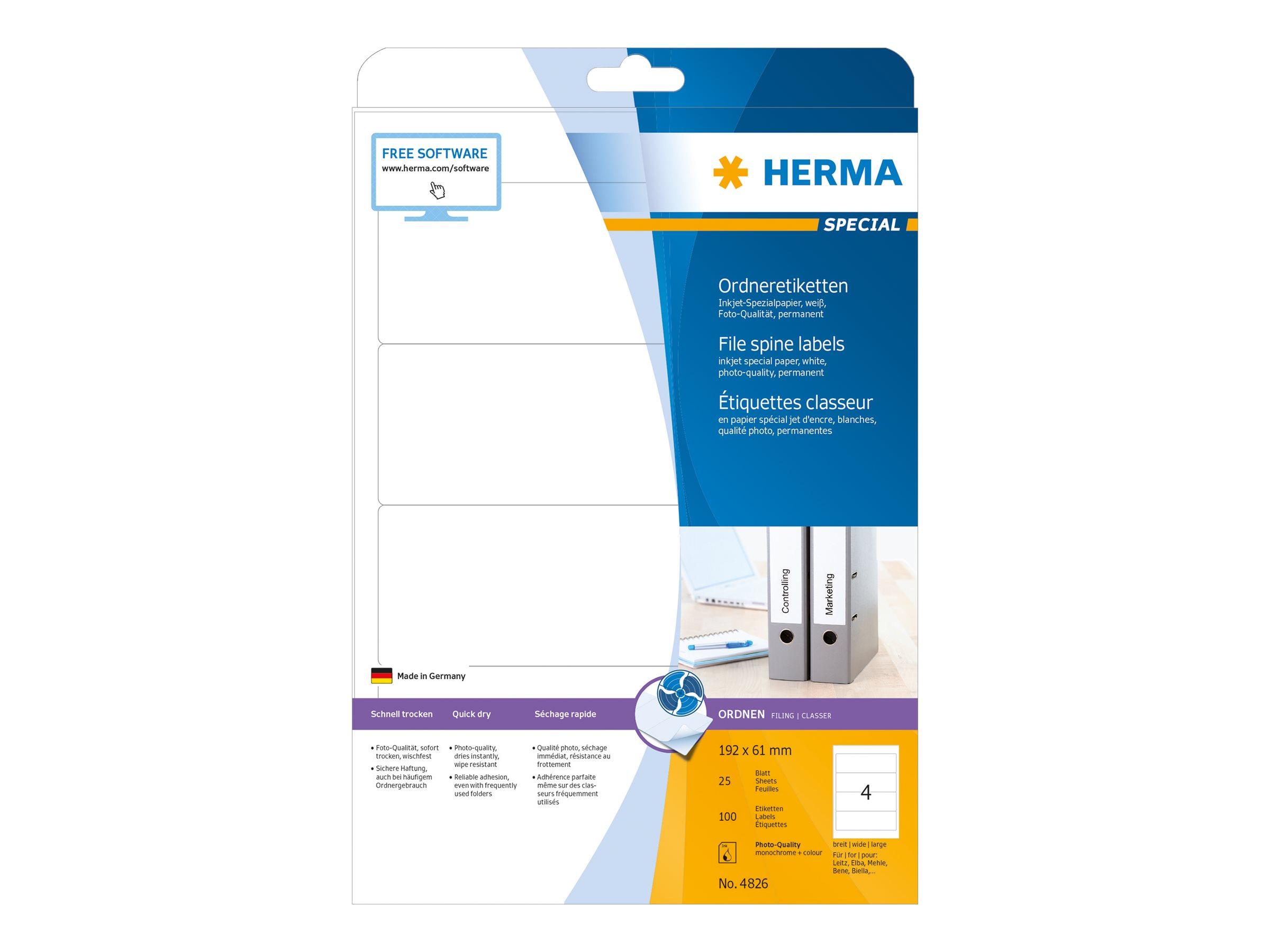 HERMA Special - Papier - matt - permanent selbstklebend - beschichtet - weiß - 192 x 61 mm - 90 g/m² - 100 Etikett(en) (25 Bogen x 4)