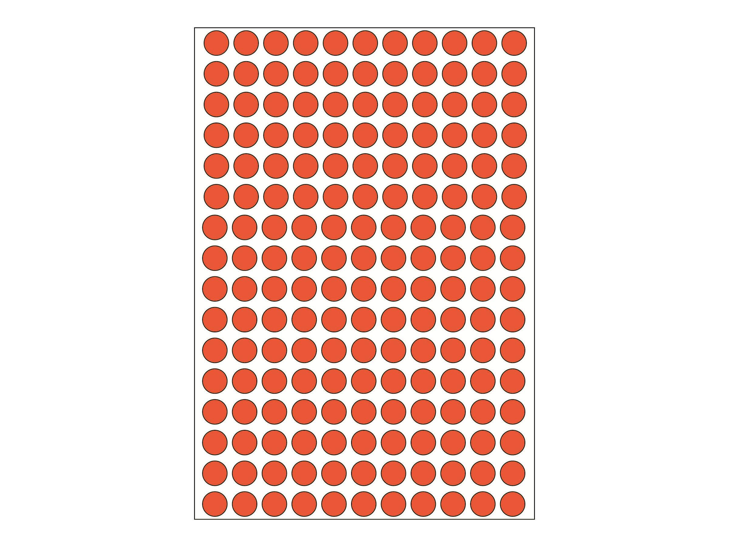 HERMA Permanenter Klebstoff - Rot - 8 mm rund 5632 Etikett(en) (32 Bogen x 176)