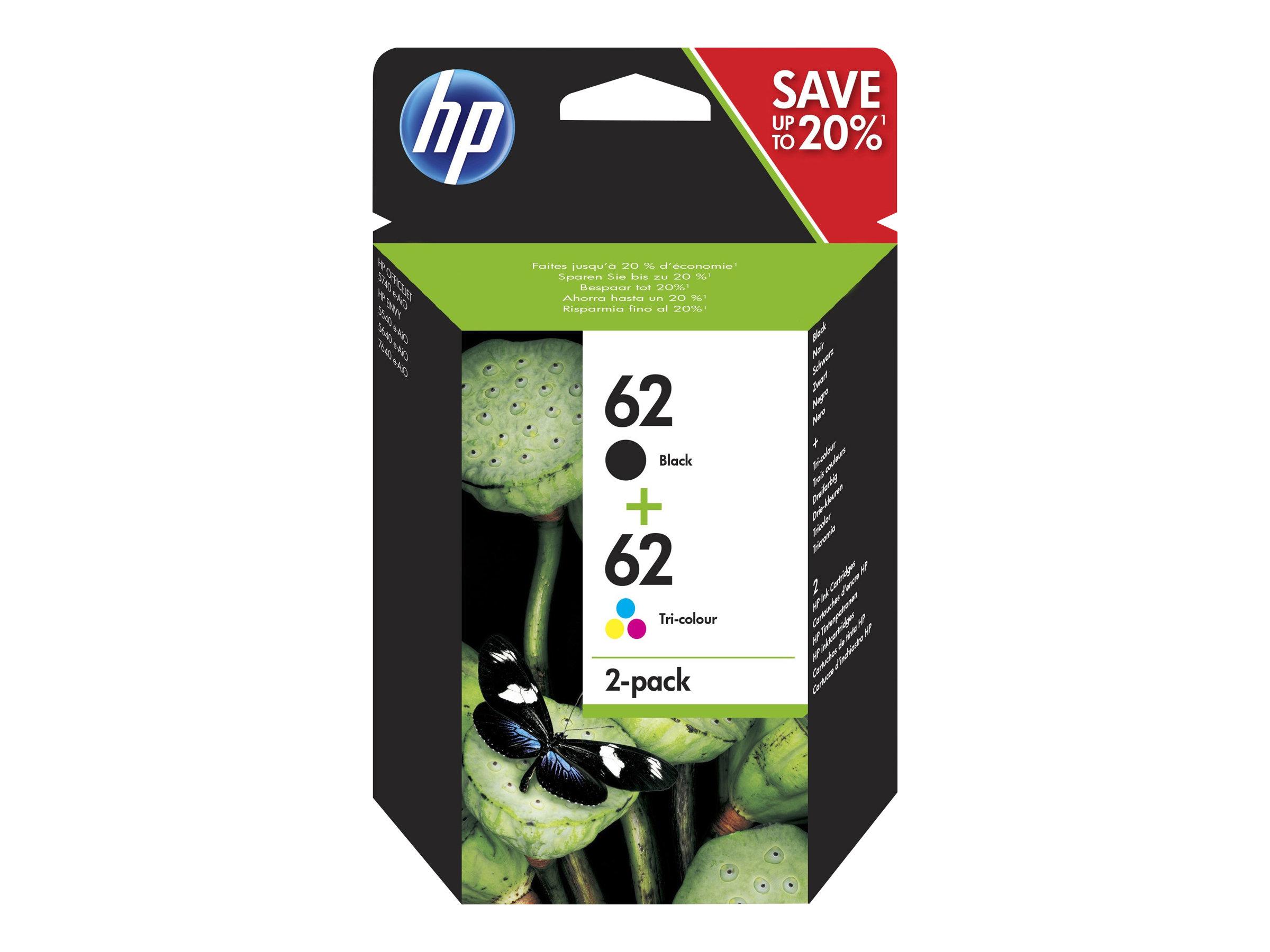 HP Multipack black/cyan/magenta/yellow Nr. 62 (N9J71AE) ca. 200 S. black/ 165 Seiten cym, Doppelpack