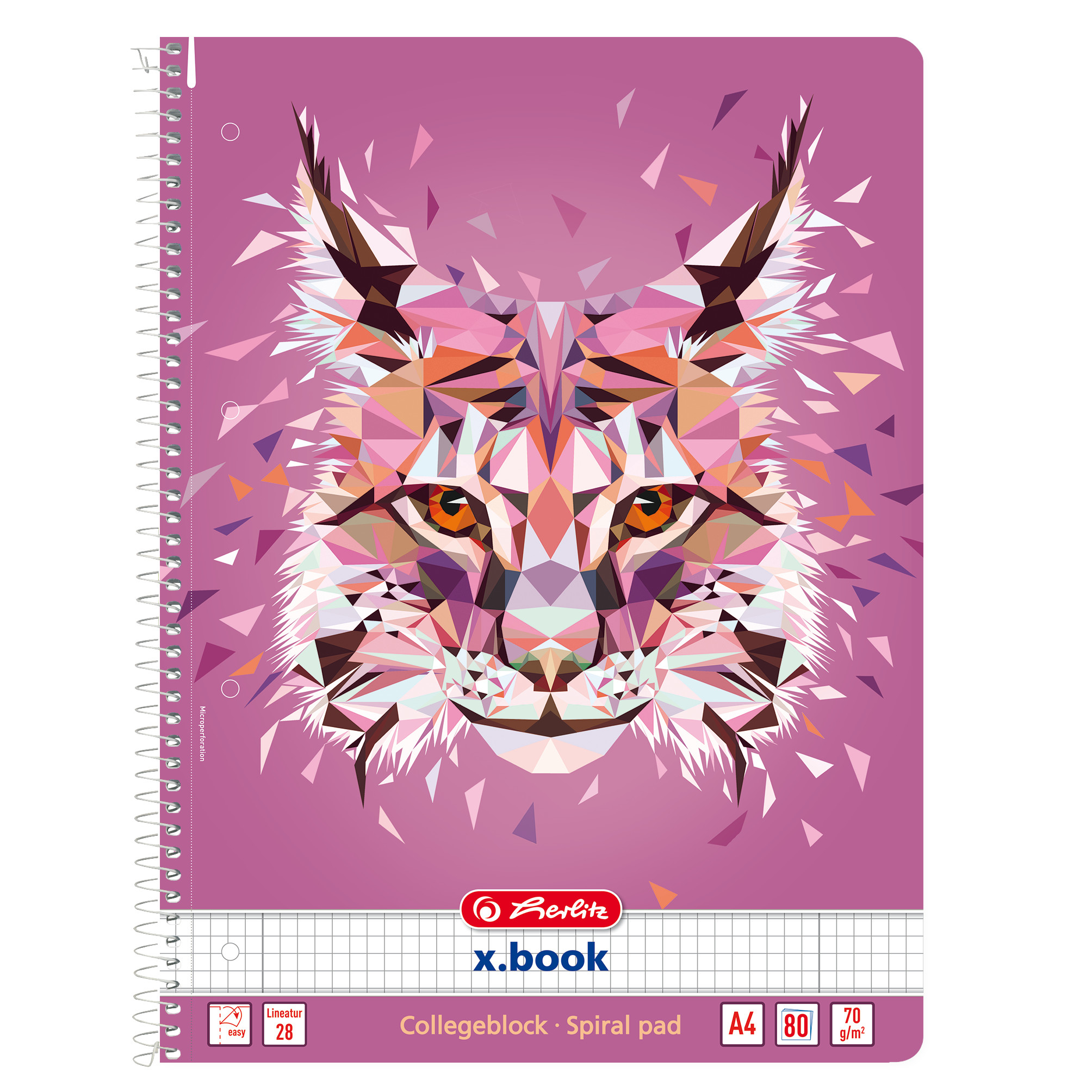 Herlitz 50027781 - Pink - 80 Blätter - Kariertes Papier - A4 - 70 g/m² - Spiralbindung