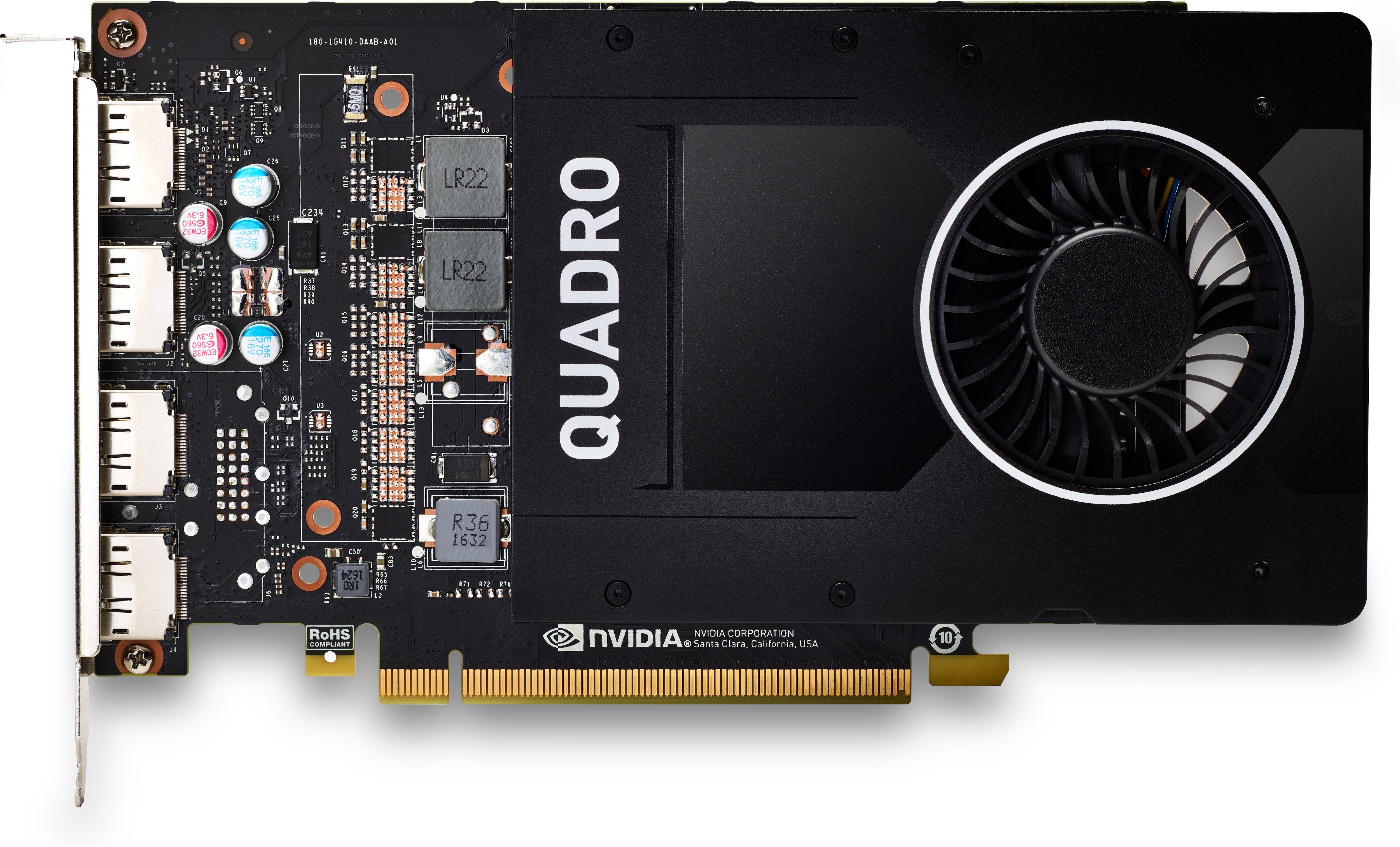 HP NVIDIA Quadro P2200 - Grafikkarten - Quadro P2200 - 5 GB GDDR5X - PCIe 3.0 x16 - 4 x DisplayPort - f?r Workstation Z2