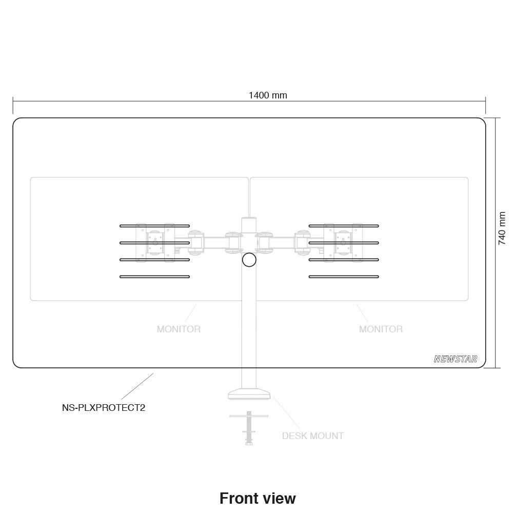 """NewStar Montagekomponente (Schutzscheibe) für 2 Monitore - 100% Acryl - durchsichtig - Bildschirmgröße: 55.9-68.6 cm (22""""-27"""")"""