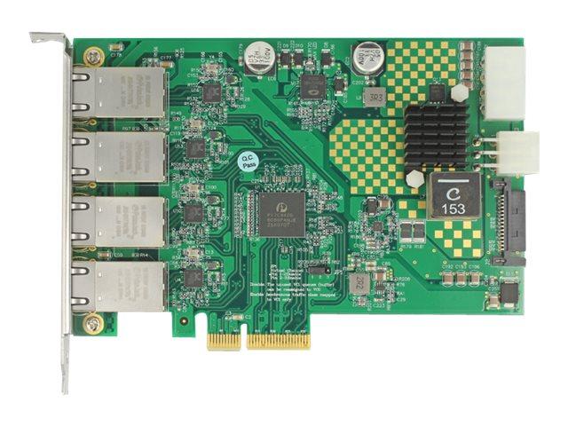 Delock PCI Express Card > 4 x 1 Gigabit LAN PoE+ RJ45 - Netzwerkadapter - PCIe x4 Low-Profile - Gigabit Ethernet (PoE+)