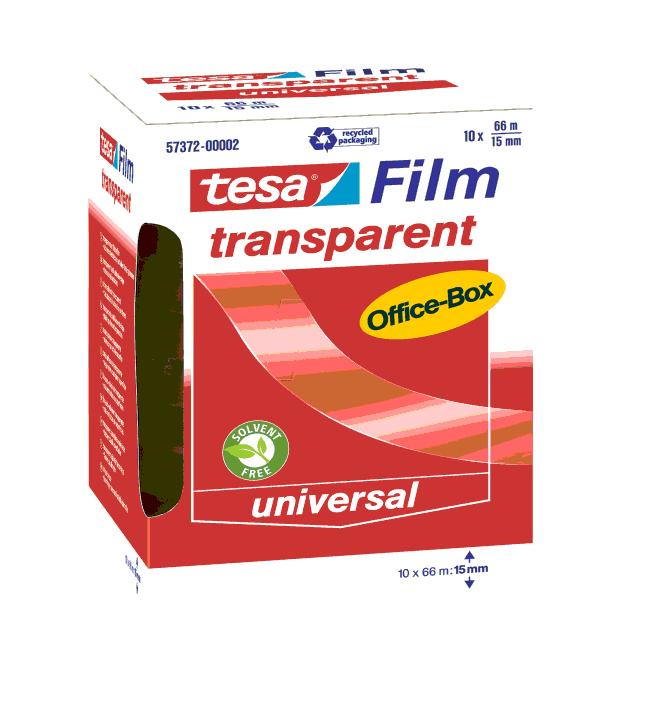 Tesa 57372 - 66 m - Transparent - Polypropylen (PP) - Pappe - Papier - 15 mm - 10 Stück(e)