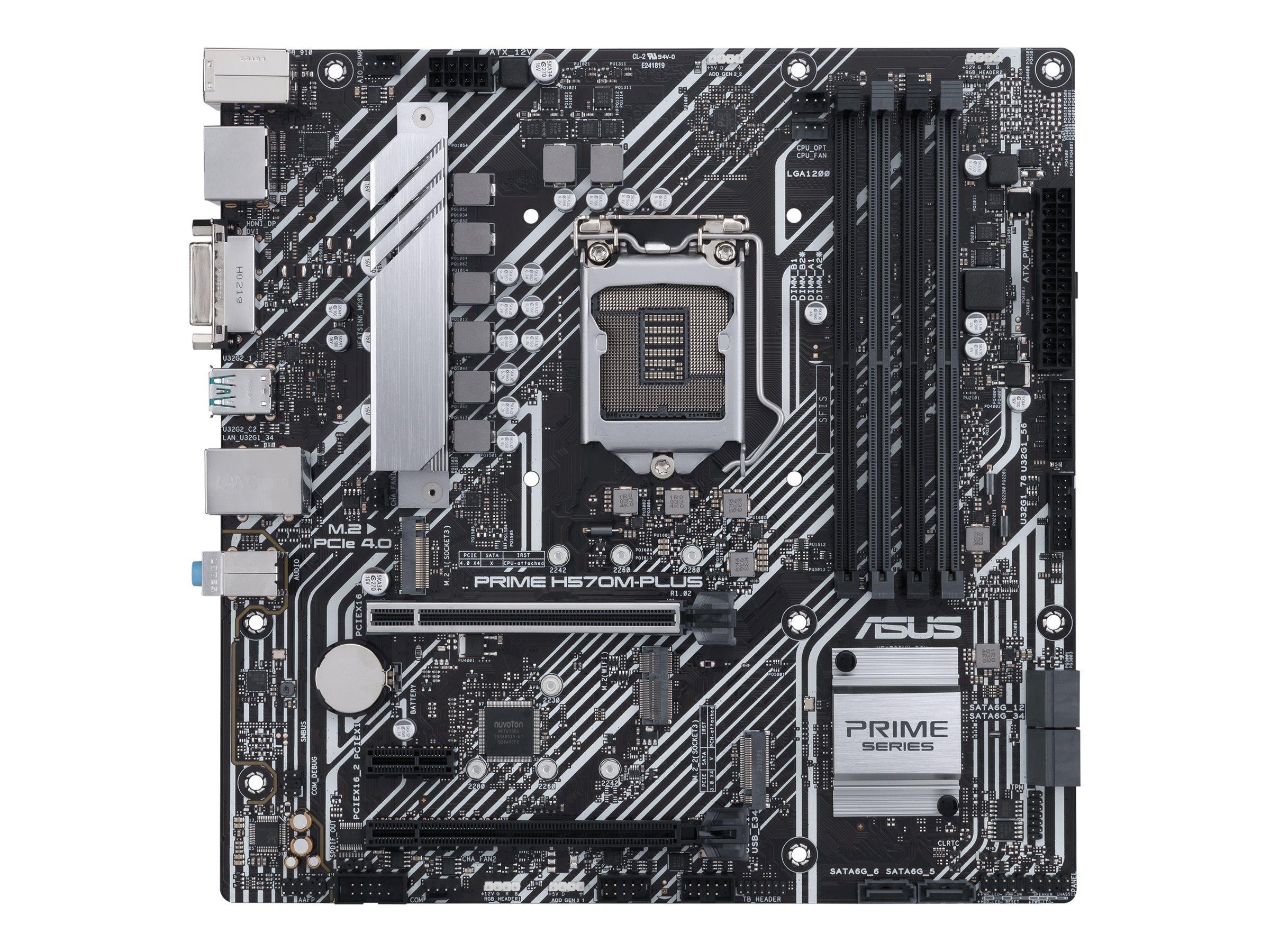 Vorschau: ASUS PRIME H570M-PLUS - Motherboard - micro ATX - LGA1200-Sockel - H570 - USB-C Gen2, USB 3.2 Gen 1, USB 3.2 Gen 2 - Gigabit LAN - Onboard-Grafik (CPU erforderlich)