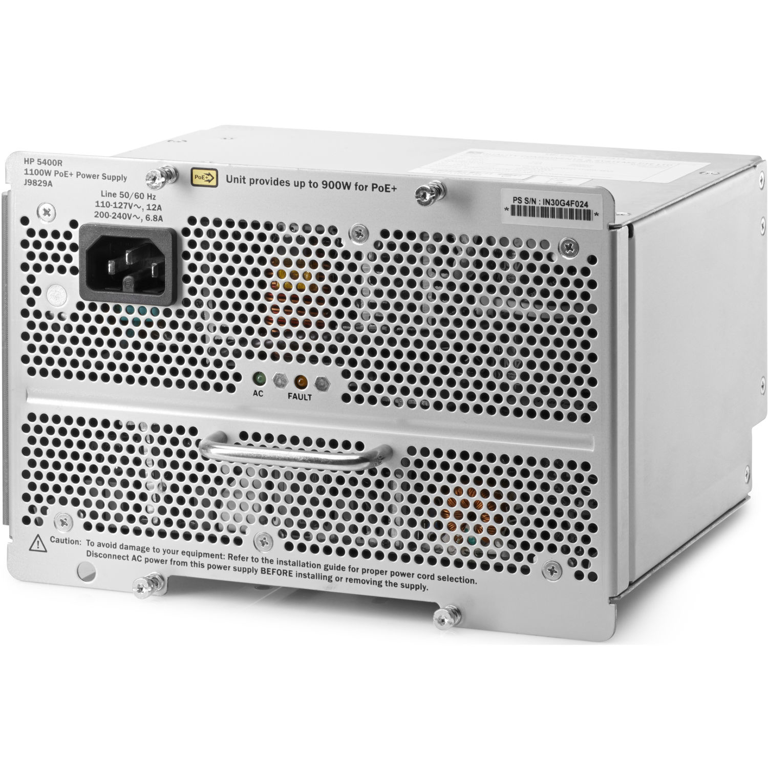 HPE Aruba 5400R 1100W PoE+ zl2 Power Supply (J9829A#ABB)