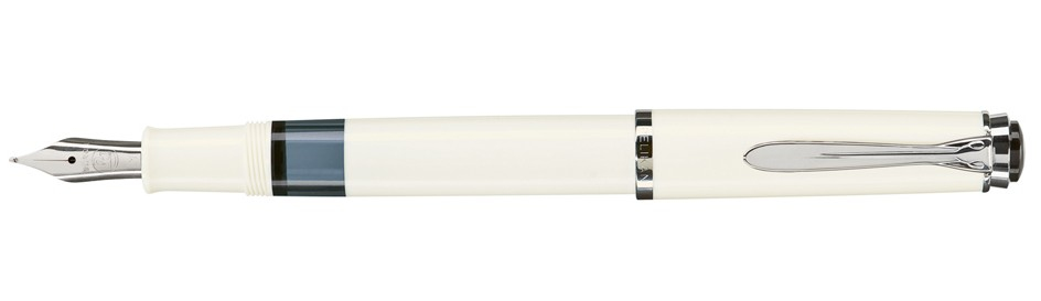 Pelikan M 205 - Chrom - Silber - Weiß - Integriertes Befüllsystem - Harz - Rundspitze - Edelstahl - Medium
