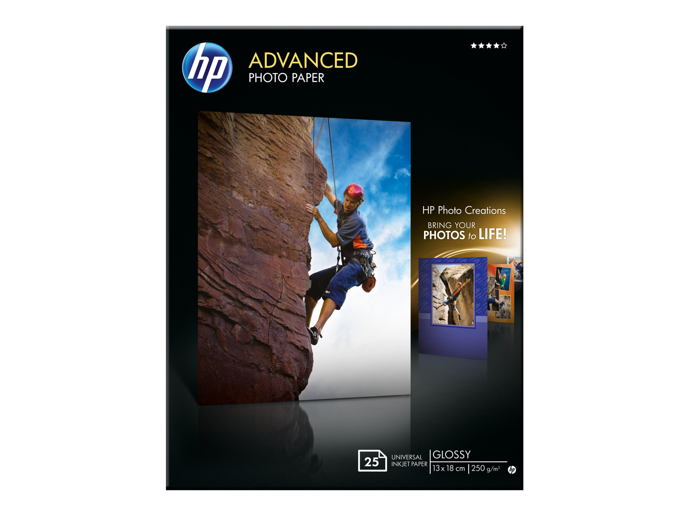 HP Advanced Glossy Photo Paper - Glänzend - 130 x 180 mm 25 Blatt Fotopapier