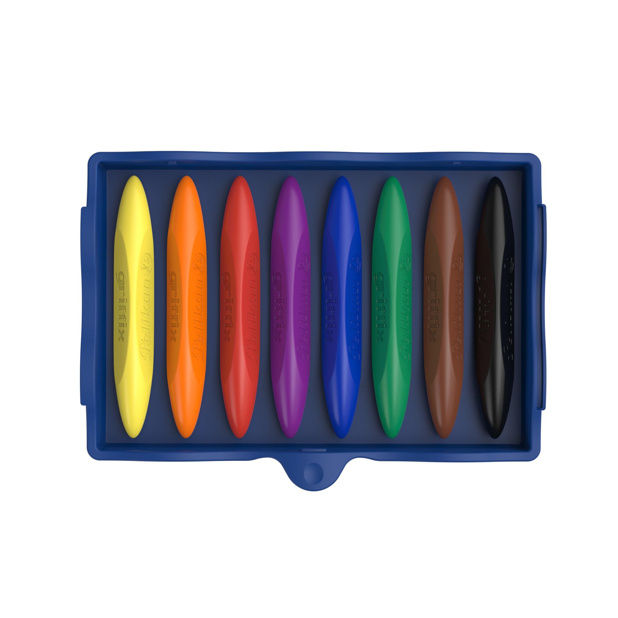 Pelikan Kreativfabrik Griffix - 8 Stück(e) - Schwarz - Blau - Braun - Grün - Orange - Rot - Violett - Gelb - Dreieck - Wachs - Junge/Mädchen