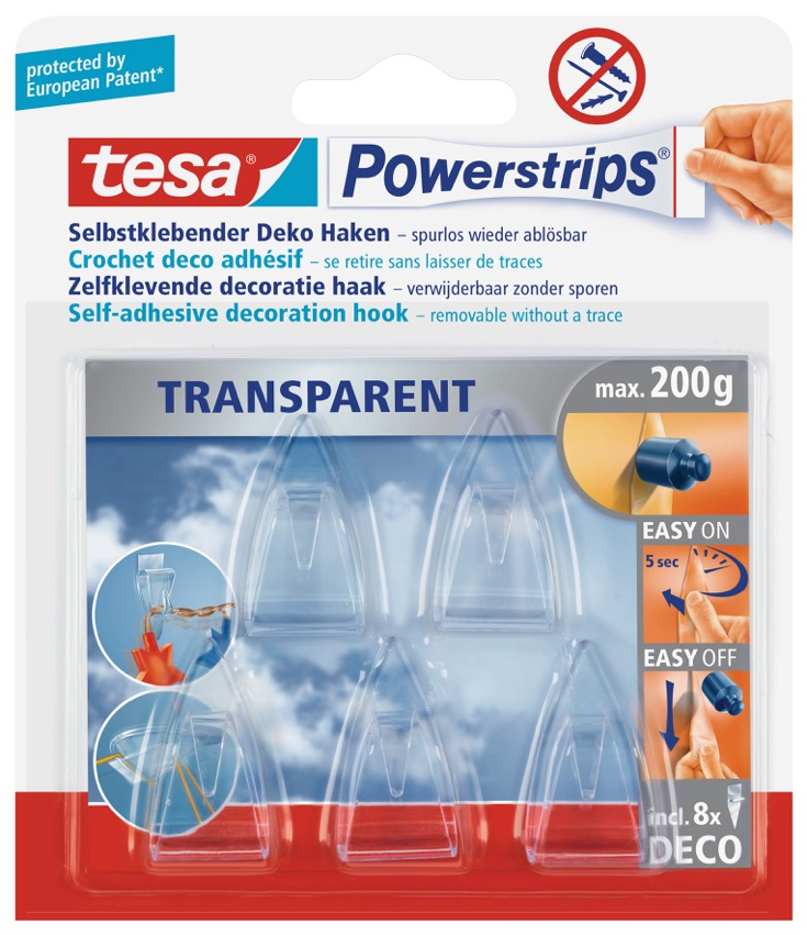Tesa 58900-00013 - Hilfshaken - Transparent - 0,2 kg - 5 Stück(e) - Sichtverpackung