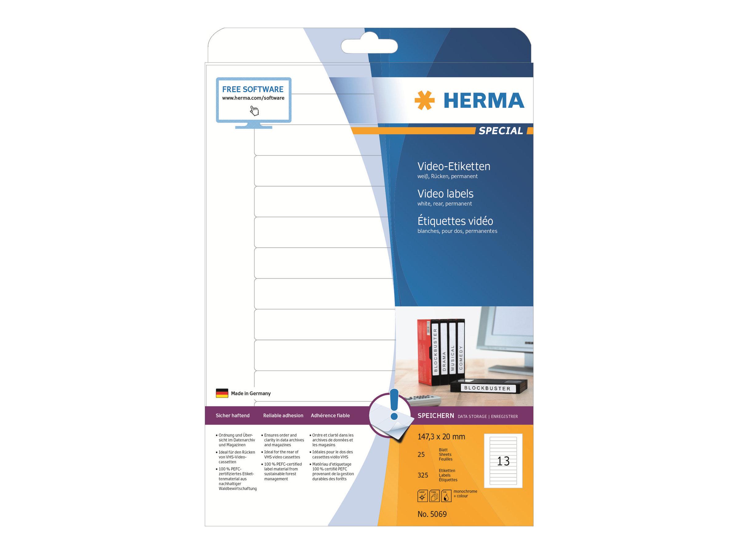 HERMA Special - Papier - matt - permanent selbstklebend - weiß - 147,3 x 20 mm 325 Etikett(en) (25 Bogen x 13)