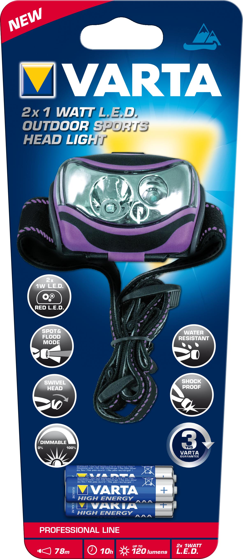 Varta 18630 101 421 - Stirnband-Taschenlampe - Schwarz - Violett - IPX4 - LED - 2 - 120 - 1 W
