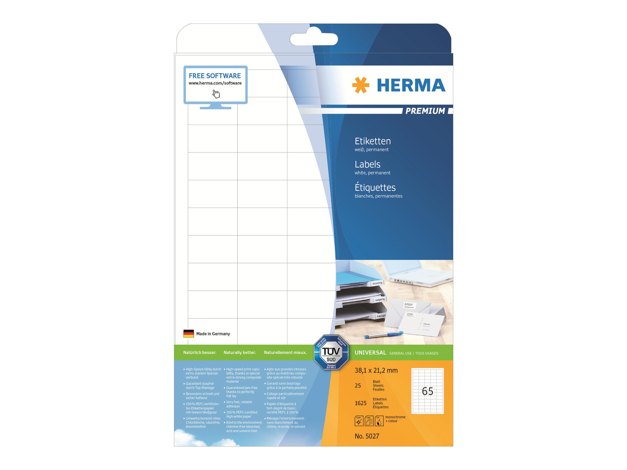 HERMA Special - Selbstklebend - weiß - 38.1 x 21.2 mm 1625 Stck. (25 Bogen x 65)