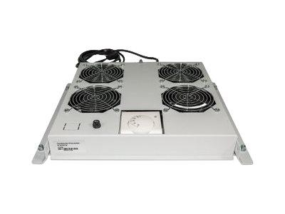"""Intellinet - Rack-Lüftereinsatz - mit 4 Ventilatoren, Thermostat - Wechselstrom 220/240 V - Grau, RAL 7035 - 48.3 cm (19"""")"""