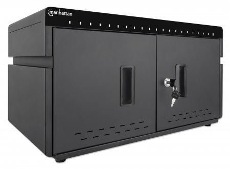 Manhattan 20-Port Ladeschrank 360 W - 20 USB-C PD-Ports - geräumige Fächer für Handys und Tablets - 360 W gesamt - bis zu 3 A/18 W pro Port - abschließbare Doppeltür - Überspannungsschutz - leiser Lüfter - Metallgehäuse - schwarz - Schrank zur Verwaltung tragbarer