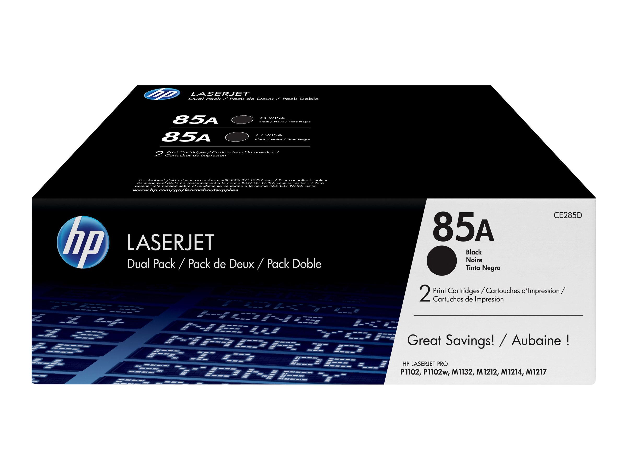 HP 85A - 2er-Pack - Schwarz - Original - LaserJet - Tonerpatrone (CE285AD)