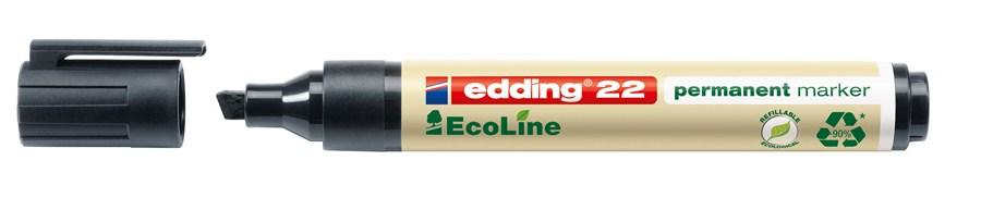 EDDING 22 15mm schwarz Keil Permanentmarker EcoLine