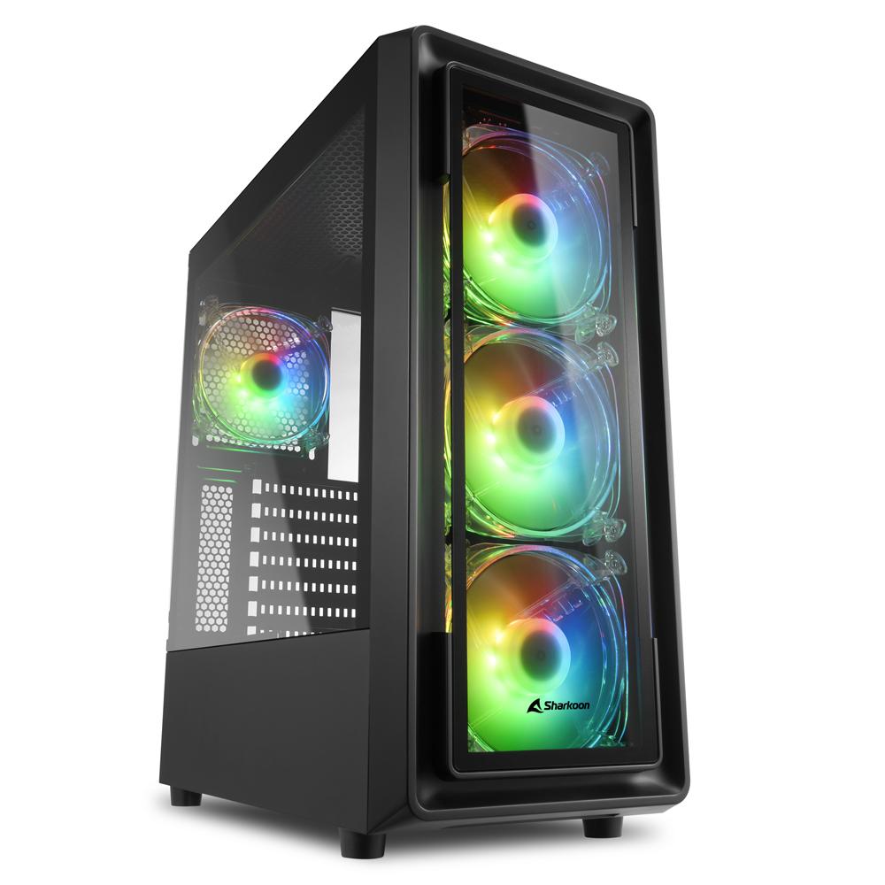 """Sharkoon TK4 RGB - Midi/Minitower ATX, Micro/Mini/Flex-ATX, Mini-ITX 3,5 """" - USB 2.0, USB 3.0"""