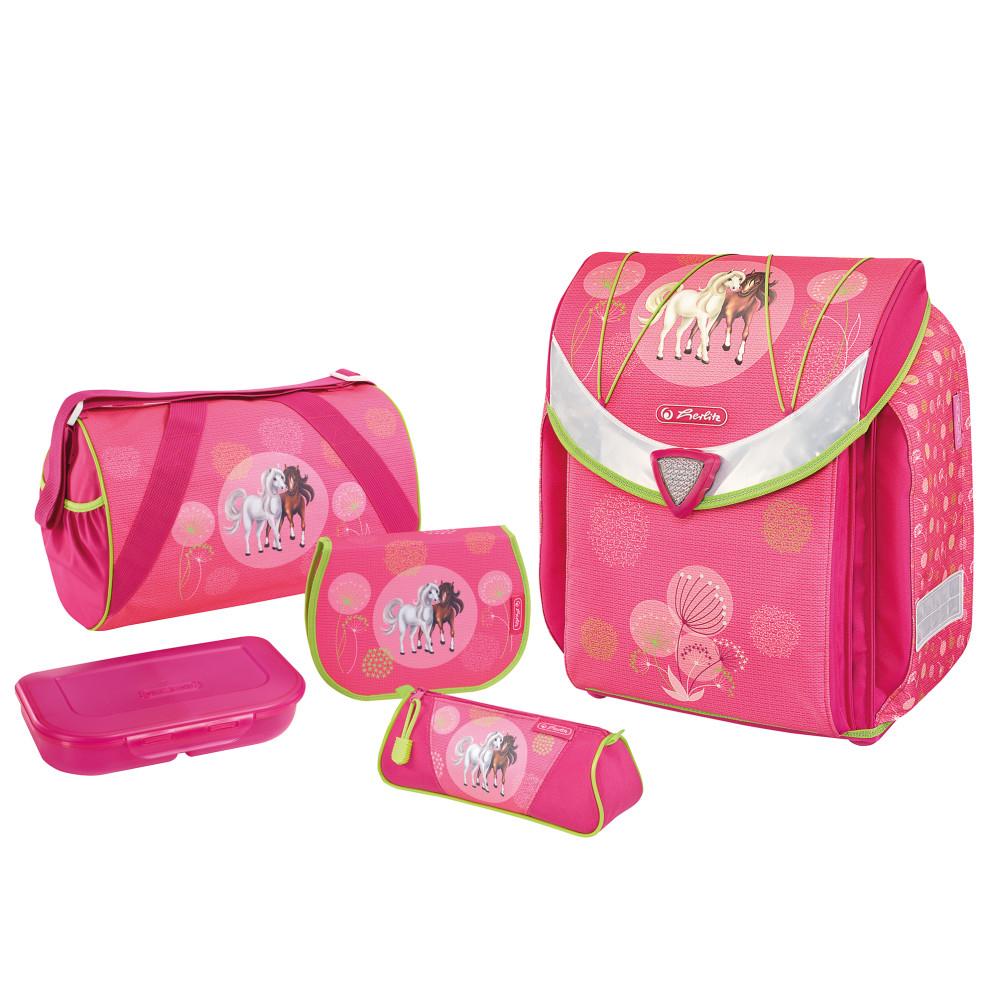 Herlitz Flexi Plus Spring Horses - Brotdose - Pencil case - Pencil pouch - School bag - Sporttasche - Mädchen - Weiterführende & Grundschule - Rucksack - 18 l - Pink