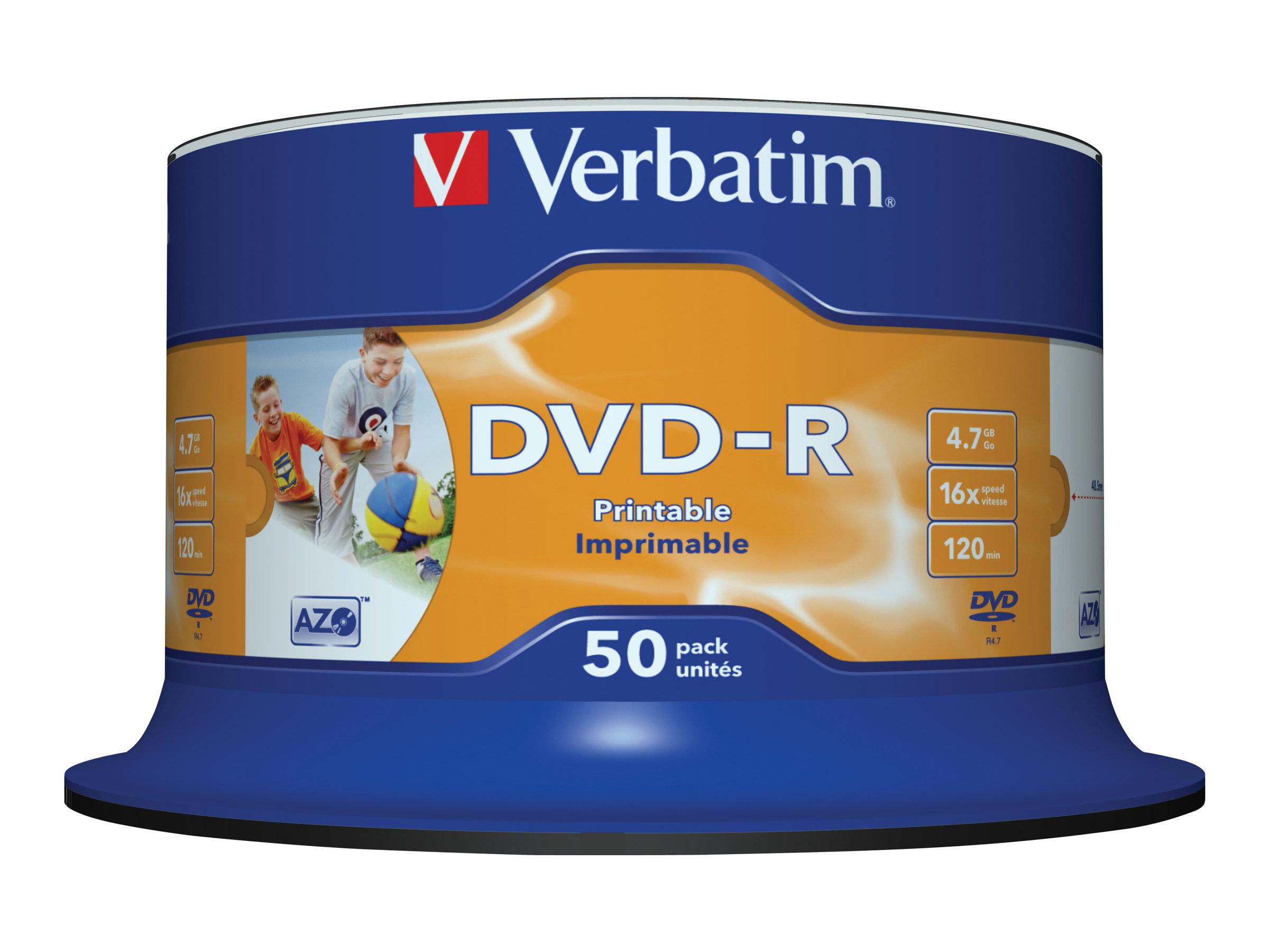 Verbatim 50 x DVD-R - 4.7 GB 16x - breite bedruckbare Fläche für Fotos