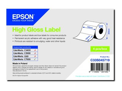 Epson Hochglänzend - 102 x 152 mm 3200 Etikett(en) 800) gestanzte Etiketten