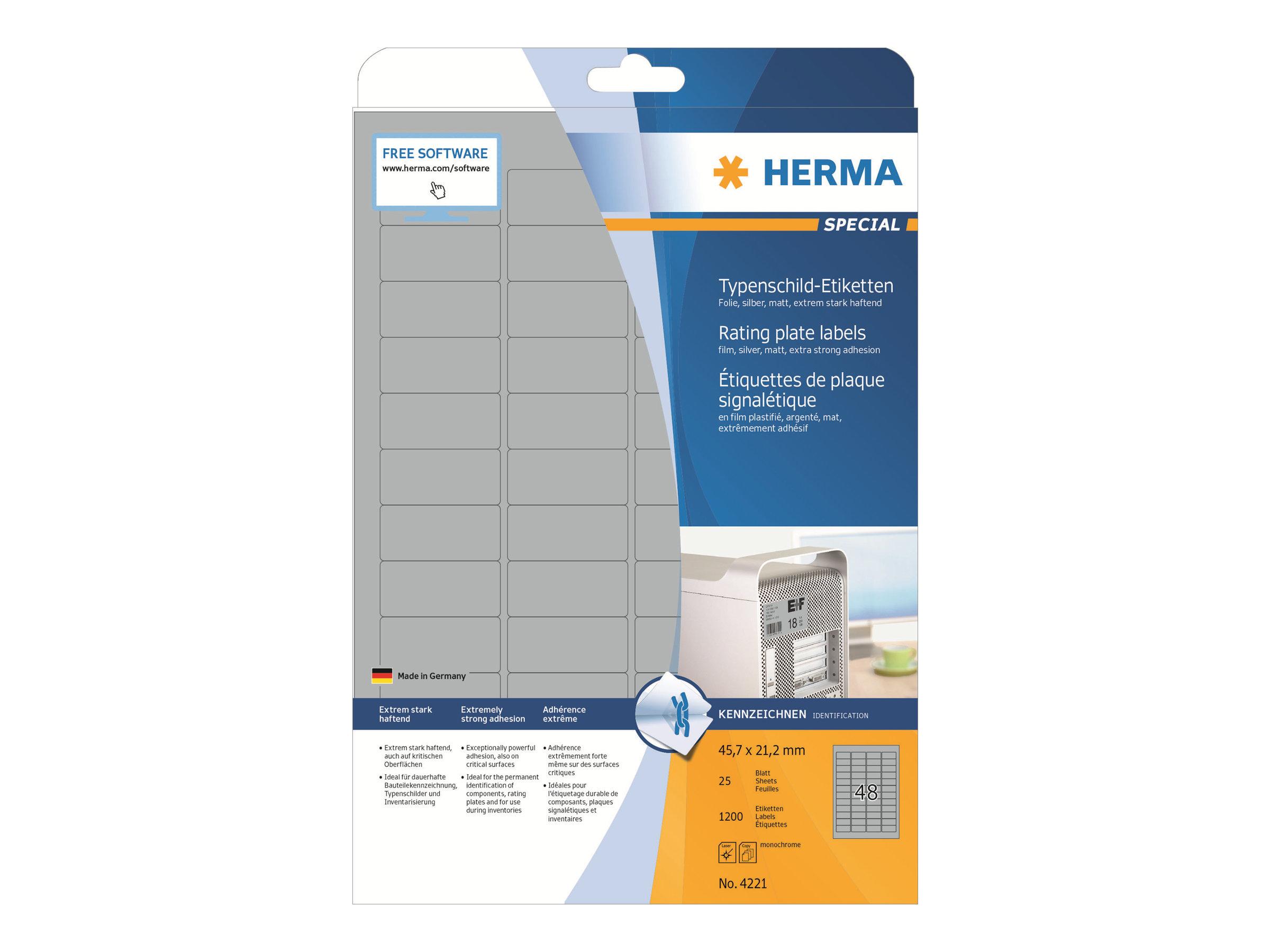 HERMA Special - Polyester - matt - permanent selbstklebend - Silber - 45.7 x 21.2 mm 1200 Etikett(en) (25 Bogen x 48)