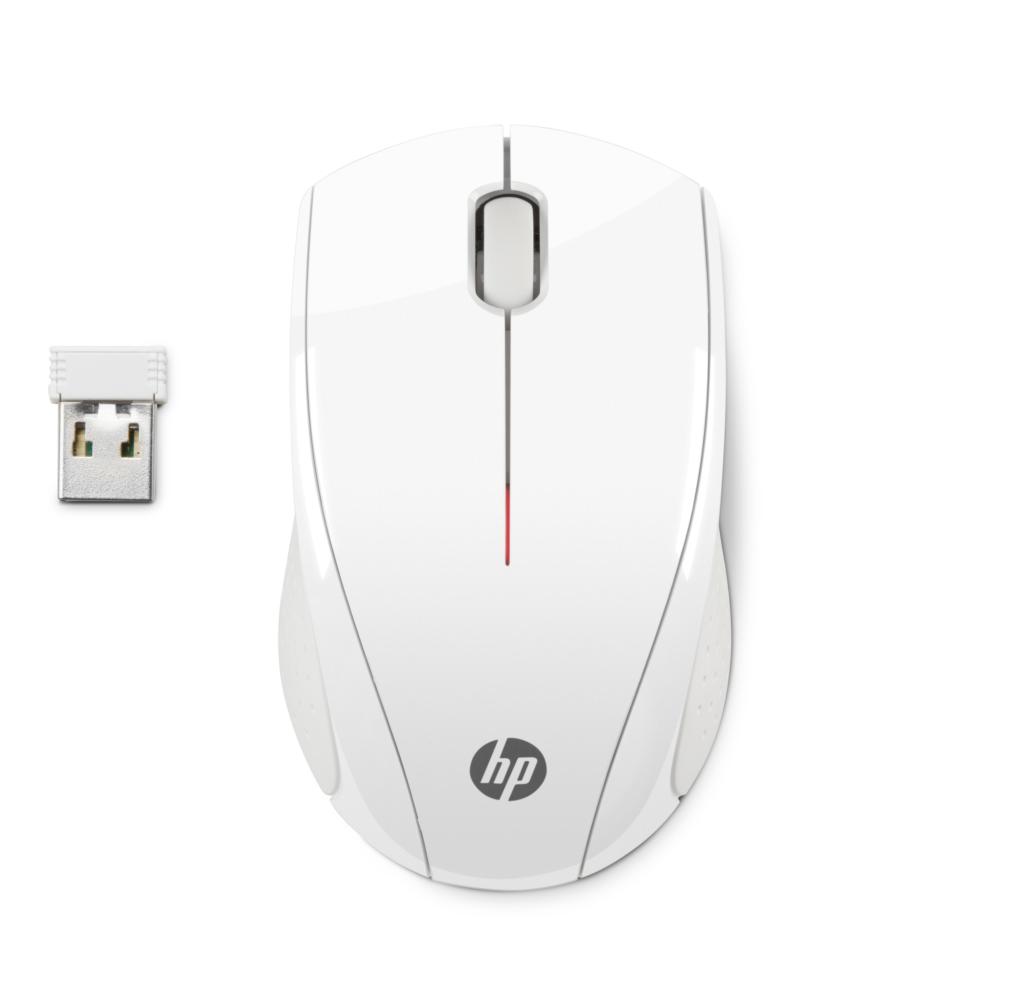 HP X3000 White Wireless Mouse RF Optisch 1200DPI Ambidextros Weiss Maus