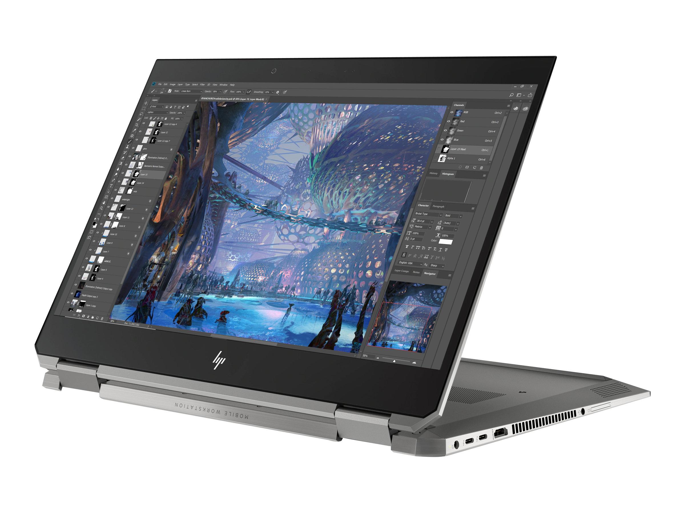 "Vorschau: HP ZBook Studio x360 G5 Mobile Workstation - Flip-Design - Core i7 9750H / 2.6 GHz - Win 10 Pro 64-Bit - 16 GB RAM - 512 GB SSD NVMe, TLC - 39.62 cm (15.6"")"