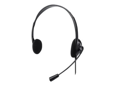 Manhattan Stereo On-Ear Headset (USB), Microphone Boom, Retail Box Packaging, Adjustable Headband, Ear Cushion, 1x USB-A for both sound and mic use, cable 1.5m, Three Year Warranty