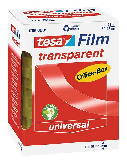 Tesa 57403 - 66 m - Transparent - Polypropylen (PP) - Pappe - Papier - 12 mm - 12 Stück(e)