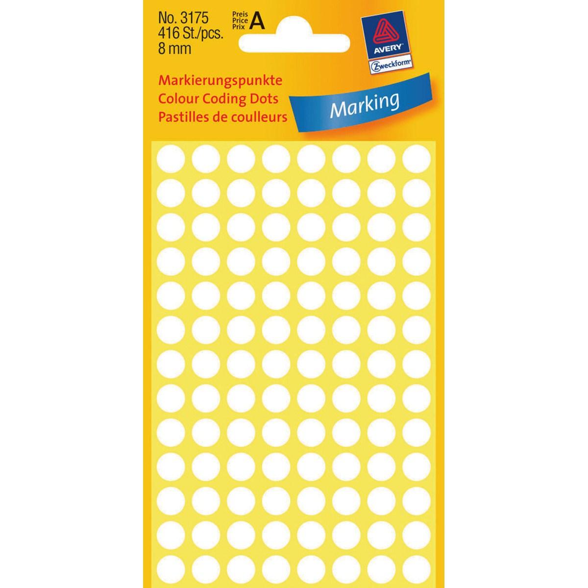 Avery Zweckform Markierungspunkte - weiß - permanent selbstklebendes Etikett