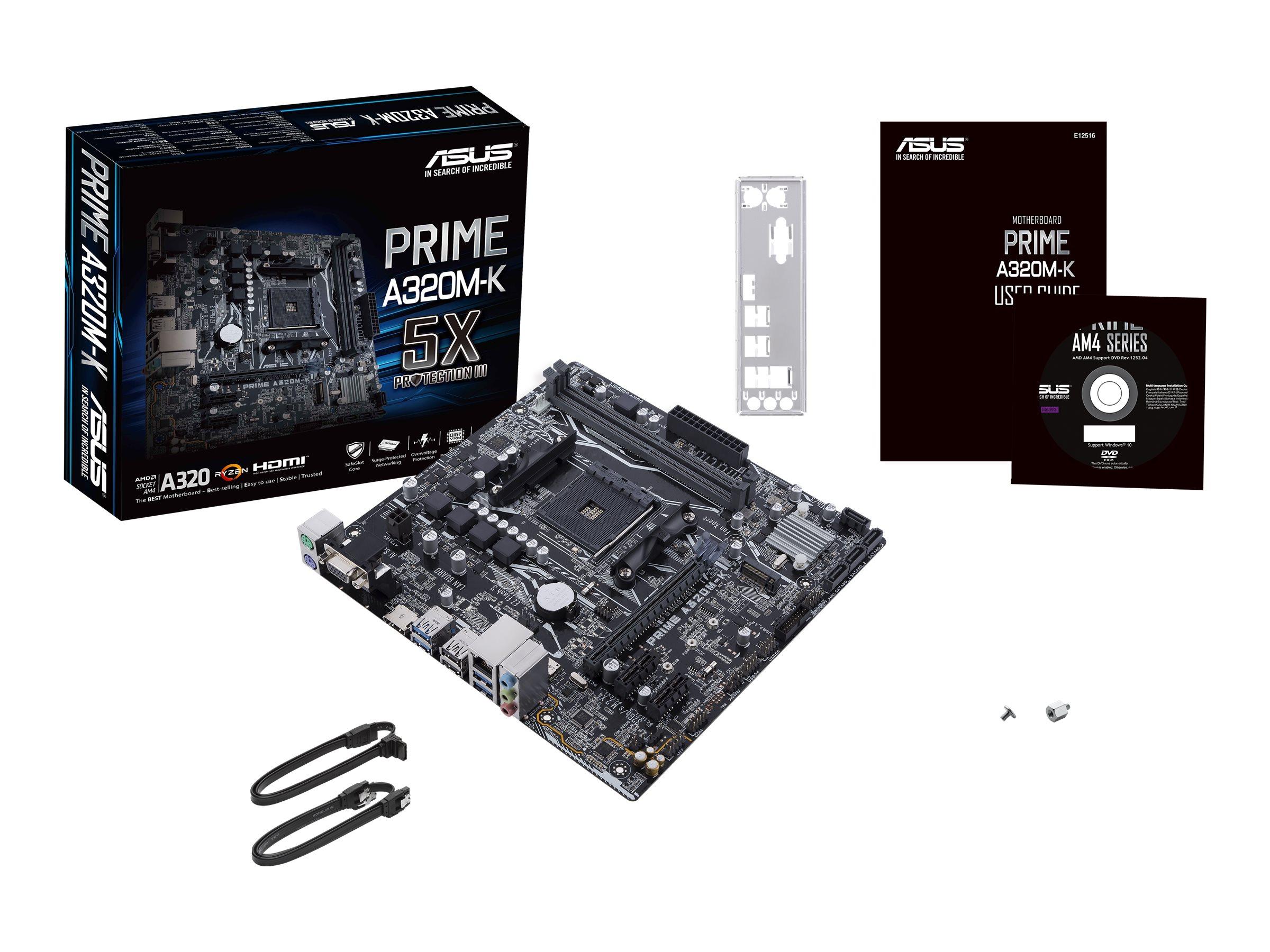 ASUS PRIME A320M-K - Motherboard - micro ATX - Socket AM4 - AMD A320 - USB 3.0 - Gigabit LAN - Onboard-Grafik (CPU erforderlich)