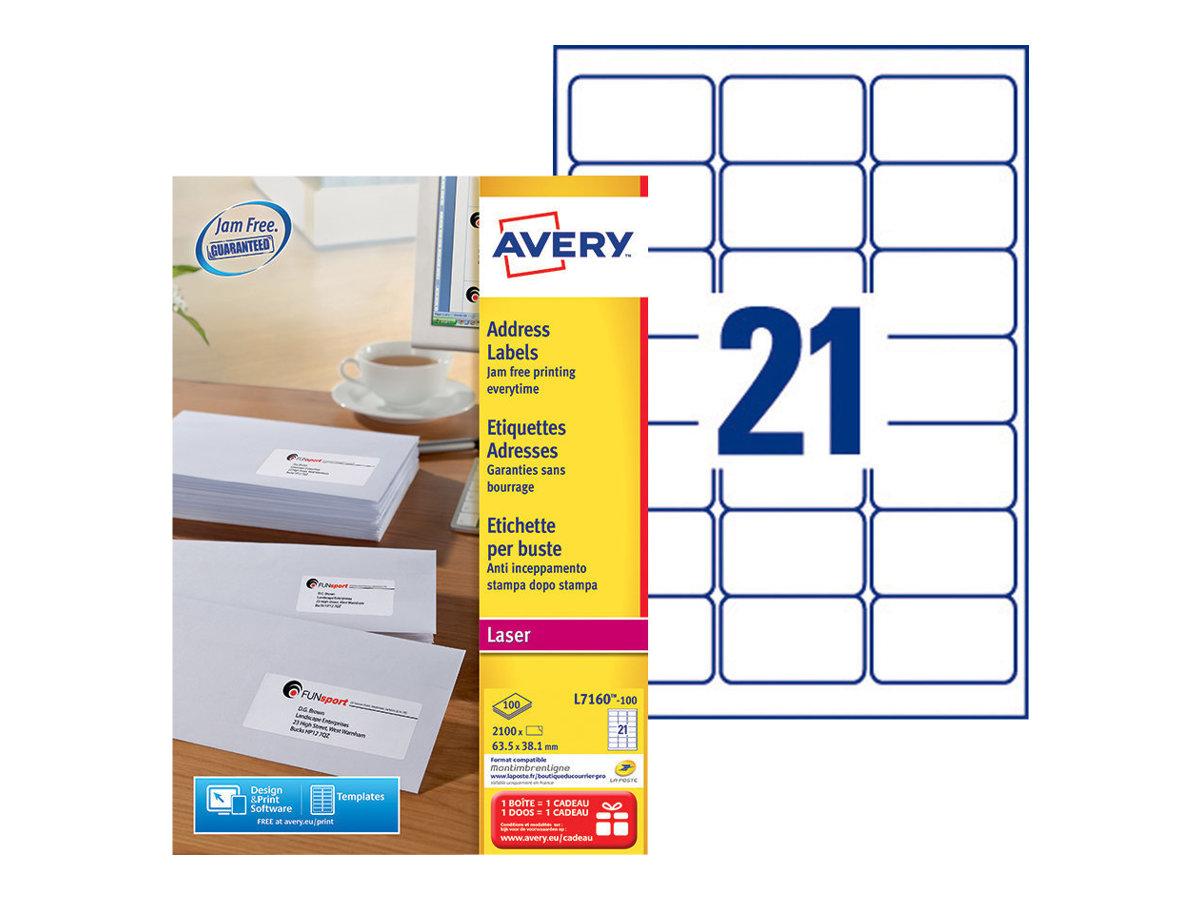 Avery Zweckform  Weiß - 38.1 x 63.5 mm 2100 Stck. Adressetiketten