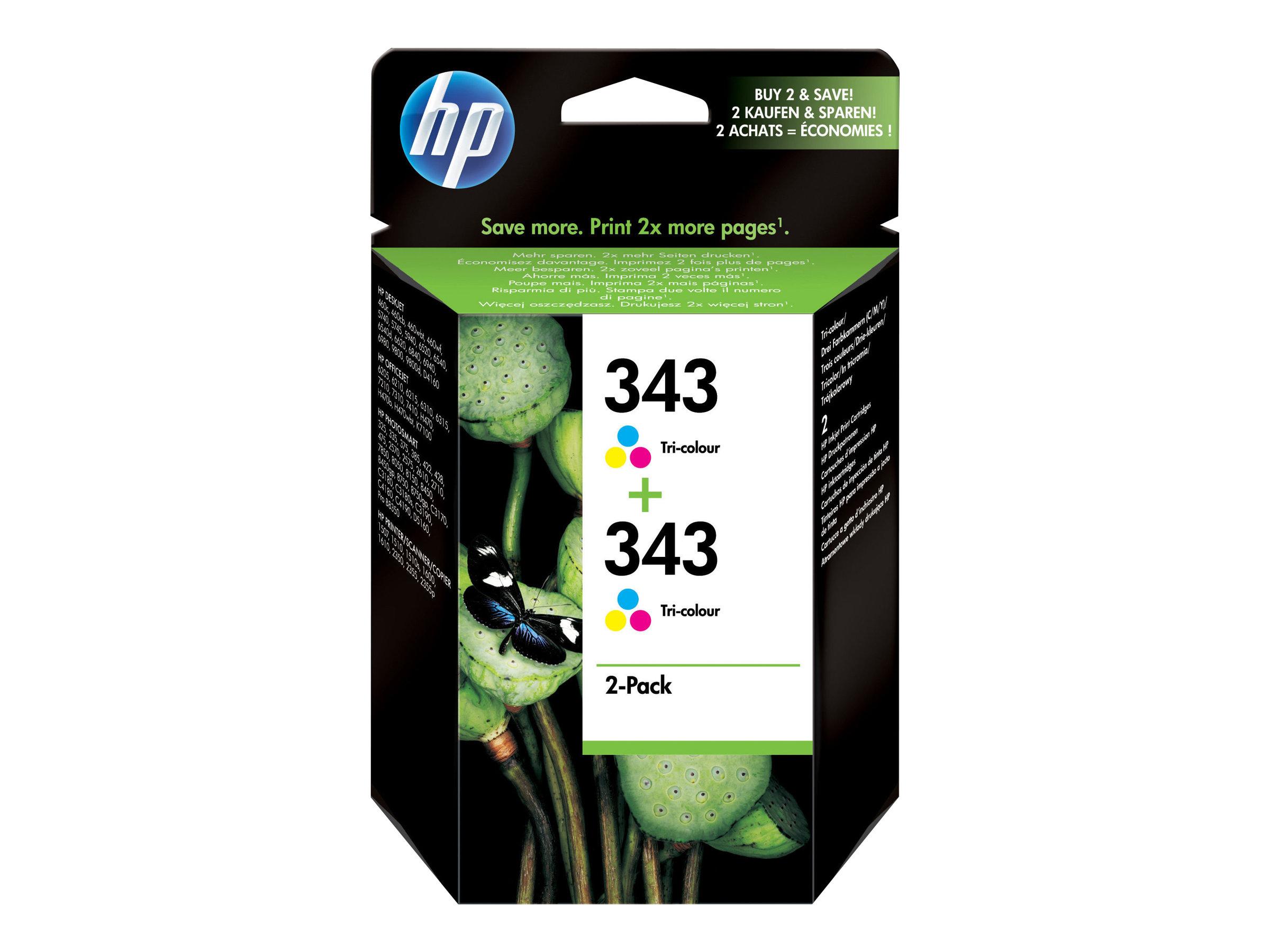 HP Tinte cyan/magenta/yellow Nr. 343 (CB332EE) ca. 330 Seiten, Doppelpack