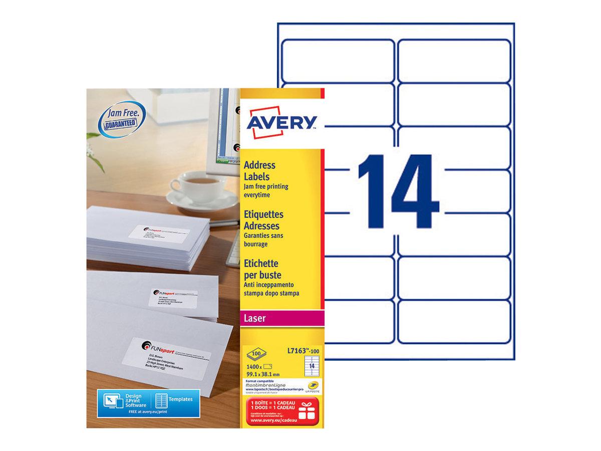 Avery Zweckform  Weiß - 99.1 x 38.1 mm 1400 Etikett(en) (100 Bogen x 14) Adressetiketten