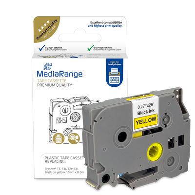 Vorschau: MEDIARANGE MRBTZ631 - Schwarz - Gelb - Tintenstrahl - Dauerhaft - Brother P-Touch 1010 - 1080 - 1090 - 1260VP - 1280 - 1280DT - 1290 - 1750 - 1830VP - 18R - 2030VP - 2100VP,... - 1,2 cm - 1 Stück(e)