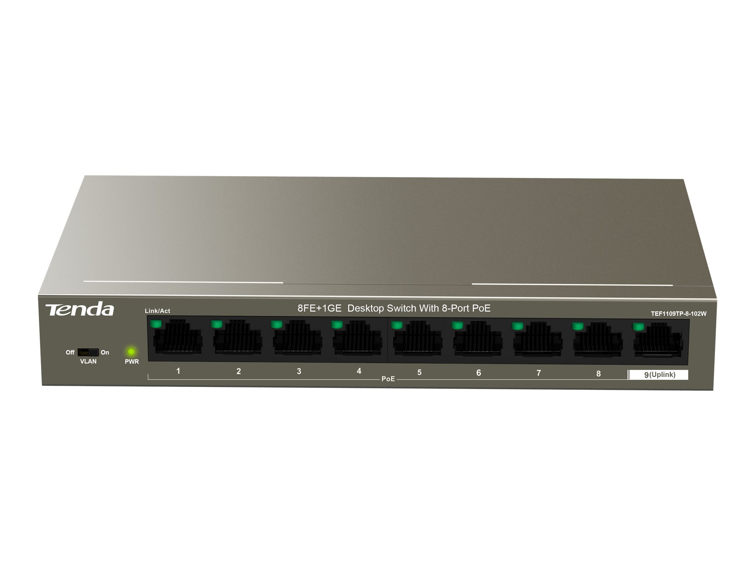 Tenda TEF1109TP-8-102W - Switch - unmanaged - 8 x 10/100 (PoE+)
