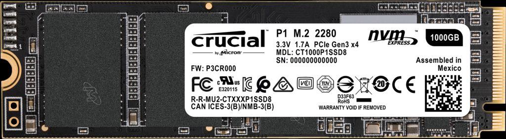 Crucial P1 - 1000 GB - M.2 - 2000 MB/s