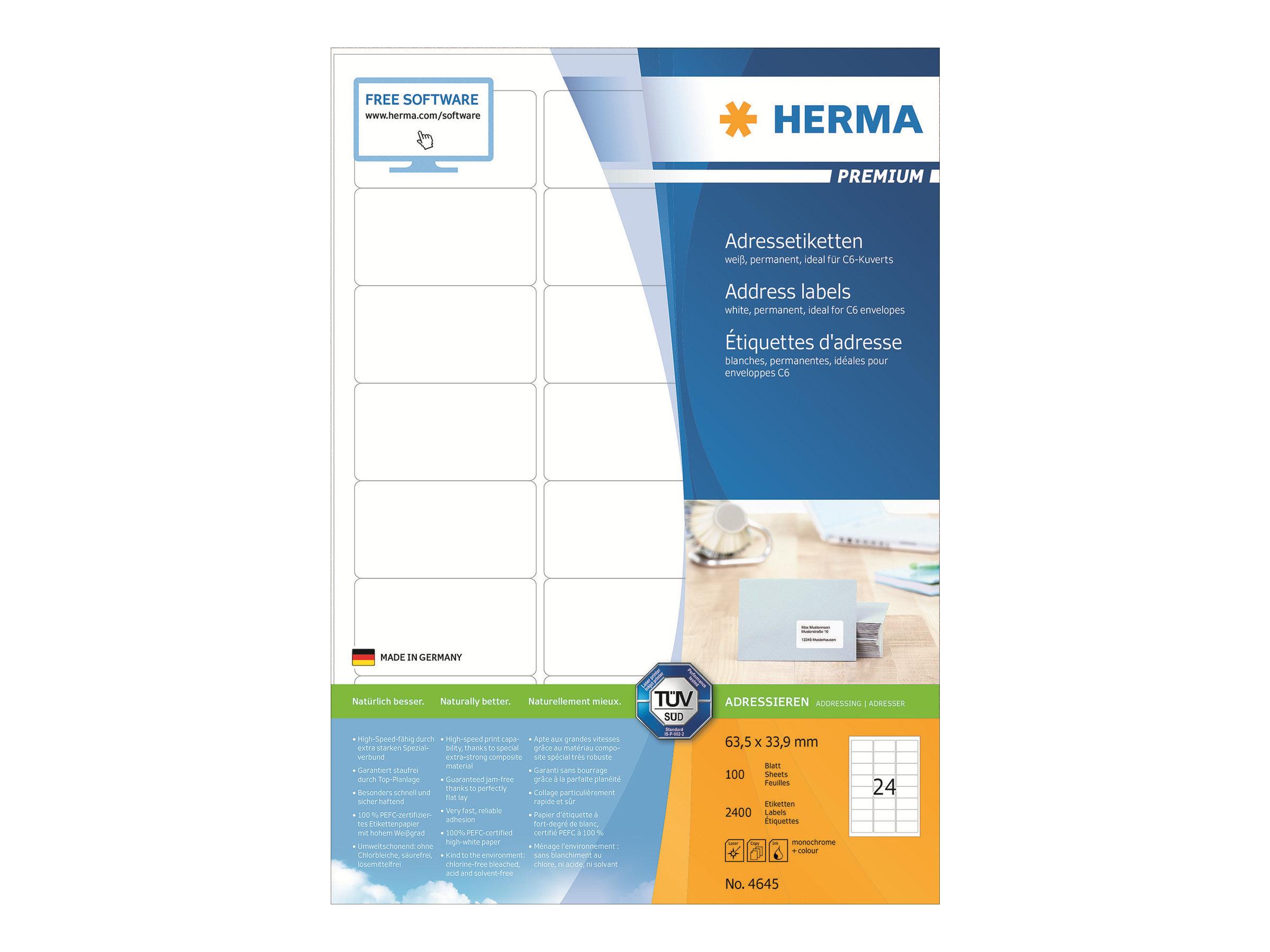 HERMA Premium - Papier - matt - permanent selbstklebend - weiß - 63.5 x 33.9 mm 2400 Etikett(en) (100 Bogen x 24)