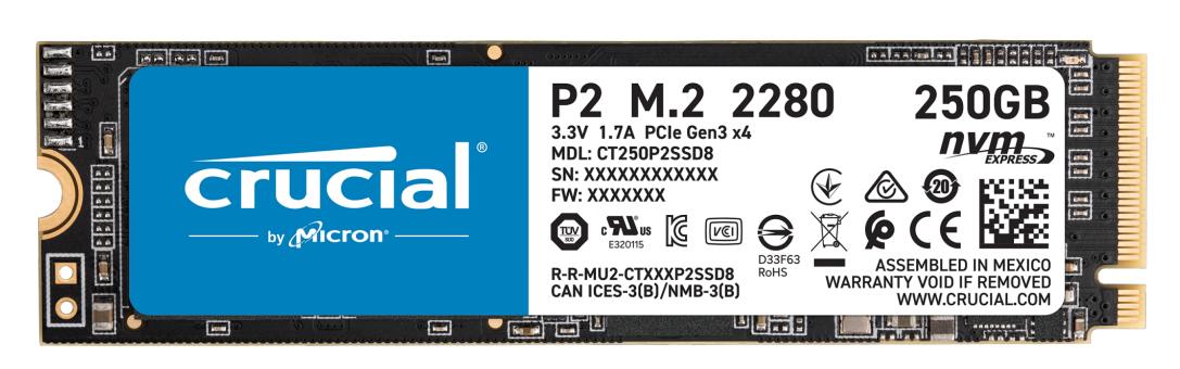Crucial P2 - 250 GB SSD - intern - M.2 2280 - PCI Express 3.0 x4 (NVMe)