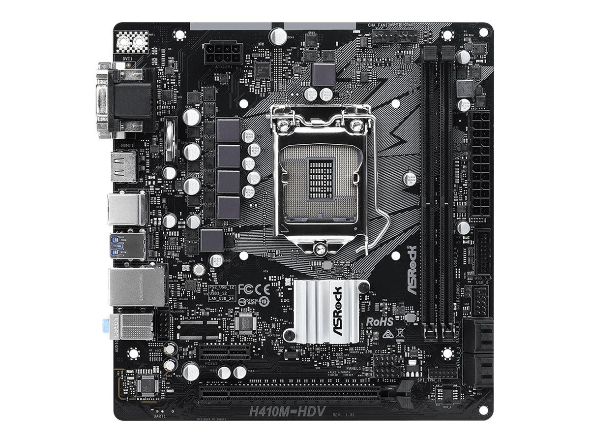 ASRock H410M-HDV - Motherboard - micro ATX - LGA1200-Sockel - H410 - USB 3.2 Gen 1 - Gigabit LAN - Onboard-Grafik (CPU erforderl