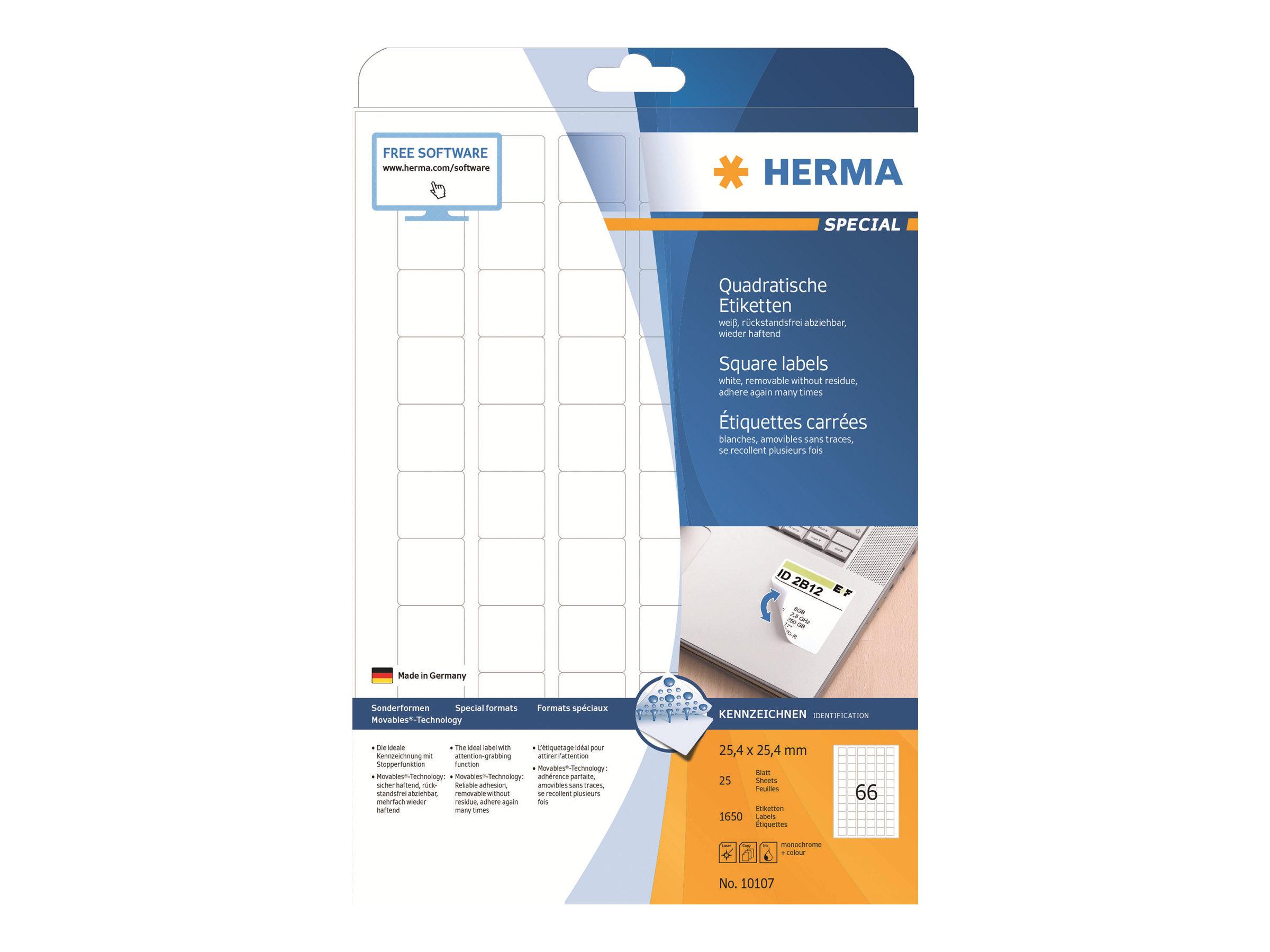 HERMA Special - Papier - matt - selbstklebend, entfernbarer Klebstoff - weiß - 25.4 x 25.4 mm 1650 Etikett(en) (25 Bogen x 66)