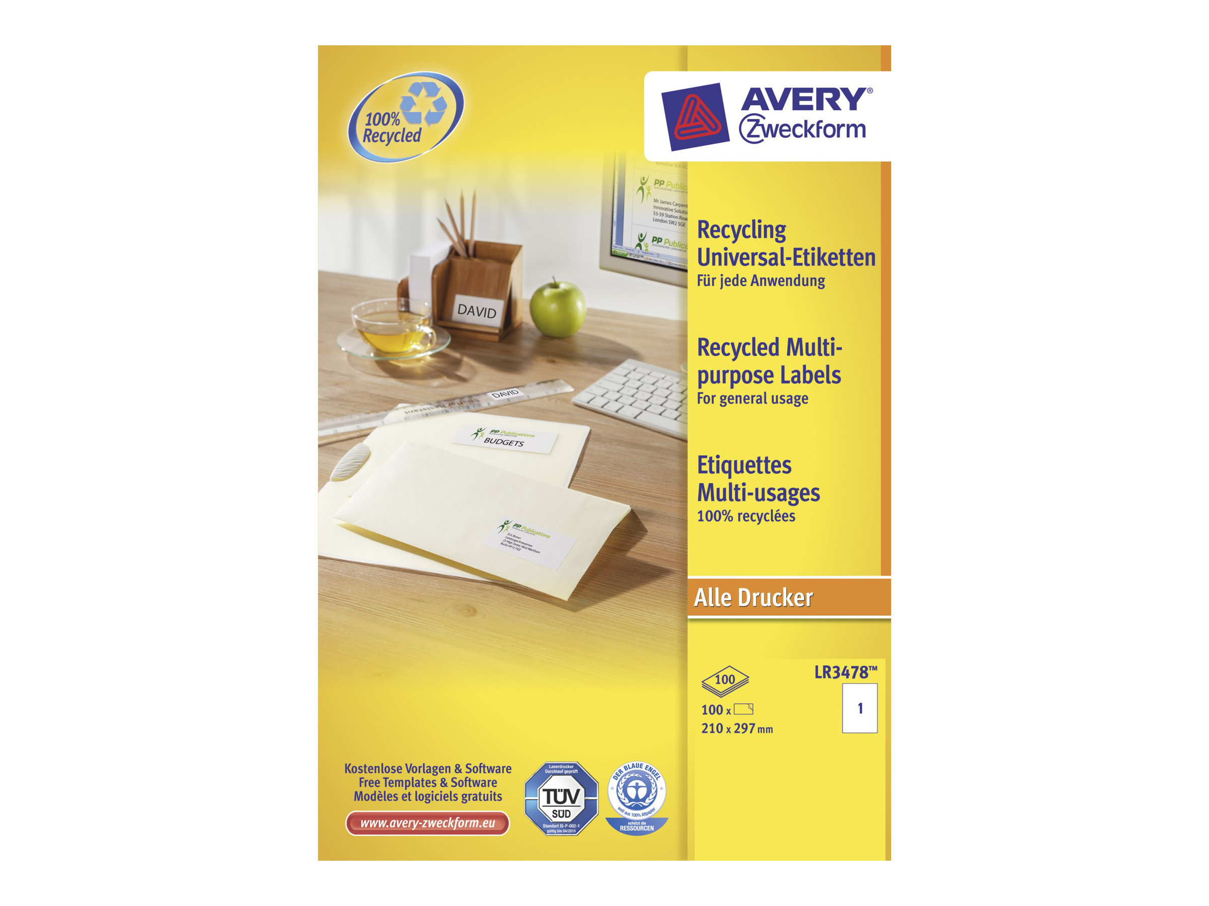Avery Zweckform QuickPEEL Recycled Labels LR3478 - Weiß - A4 (210 x 297 mm)