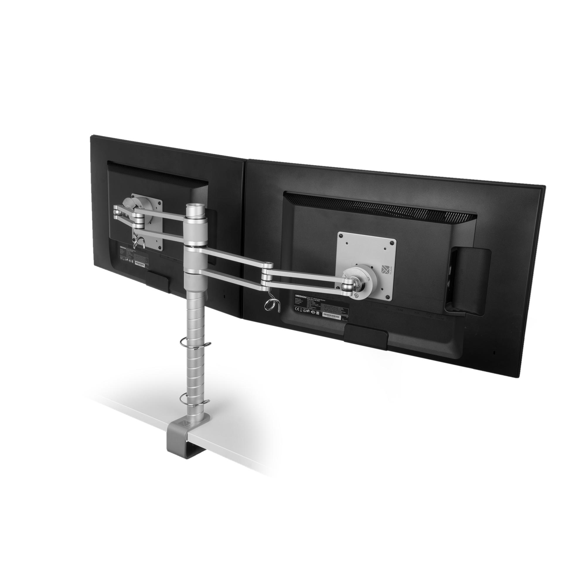R-Go Zepher 3 ECO Twin Monitorarm - verstellbar - silber