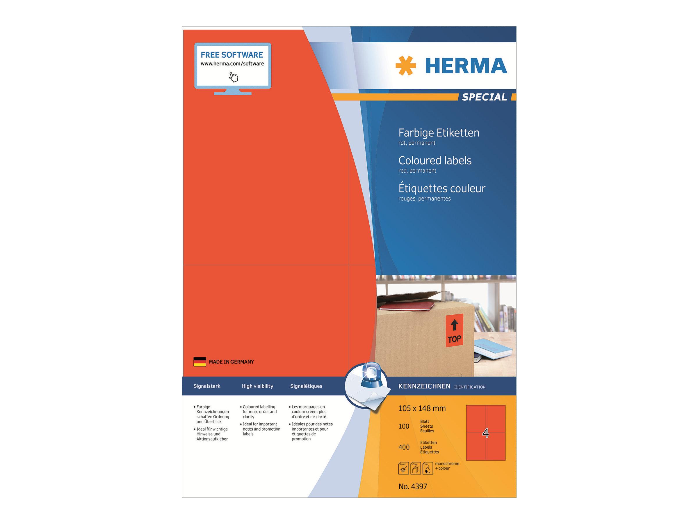 HERMA Special - Papier - matt - permanent selbstklebend - Rot - 192 x 61 mm 400 Etikett(en) (100 Bogen x 4)
