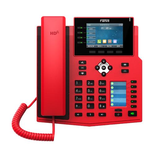 Fanvil X5U-R - IP-Telefon - Schwarz - Rot - Kabelgebundenes Mobilteil - 16 Zeilen - 8,89 cm (3.5 Zoll) - 480 x 320 Pixel