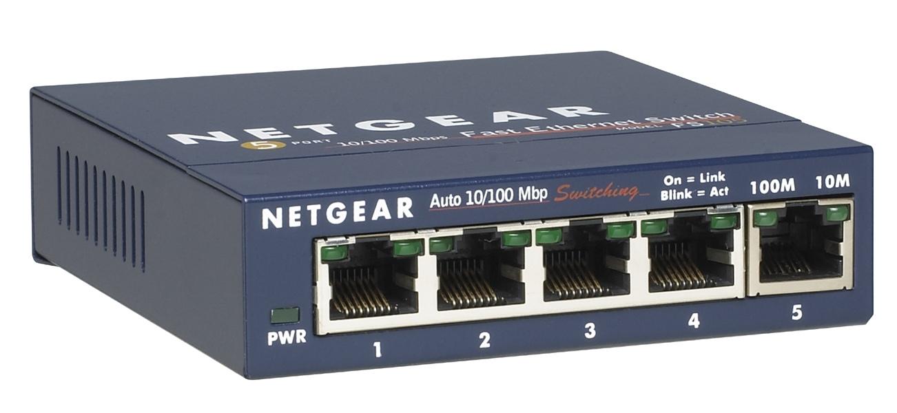 Netgear FS105-300PES Unmanaged network switch L2 Fast Ethernet (10/100) Blau Netzwerk-Switch