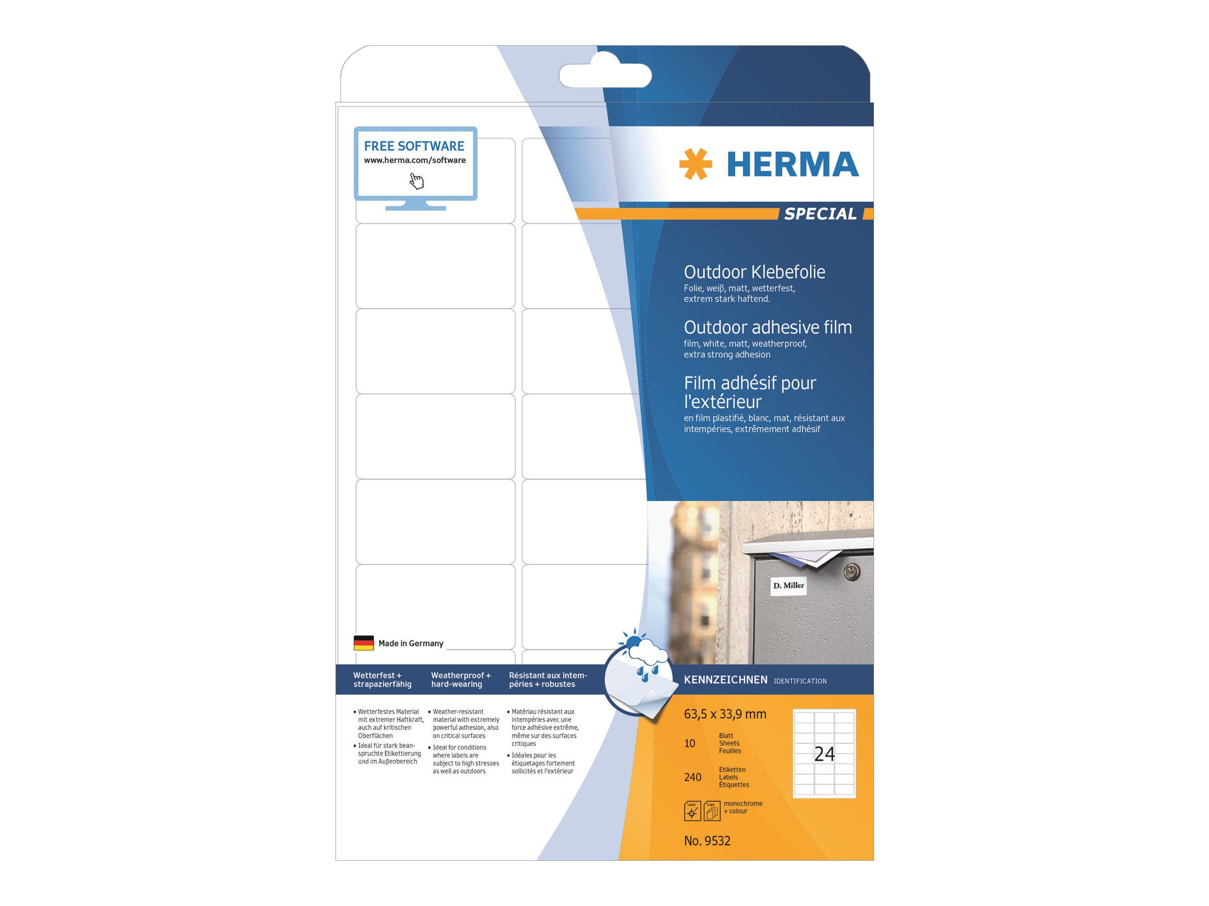 HERMA Special - Polyethylen (PE) - matt - selbstklebend - weiß - 63.5 x 33.9 mm 240 Etikett(en) (10 Bogen x 24)
